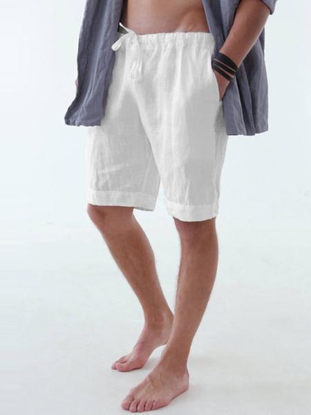 Yoins Men Leisure Home Solid Color Cotton Linen Shorts Beach Board Shorts