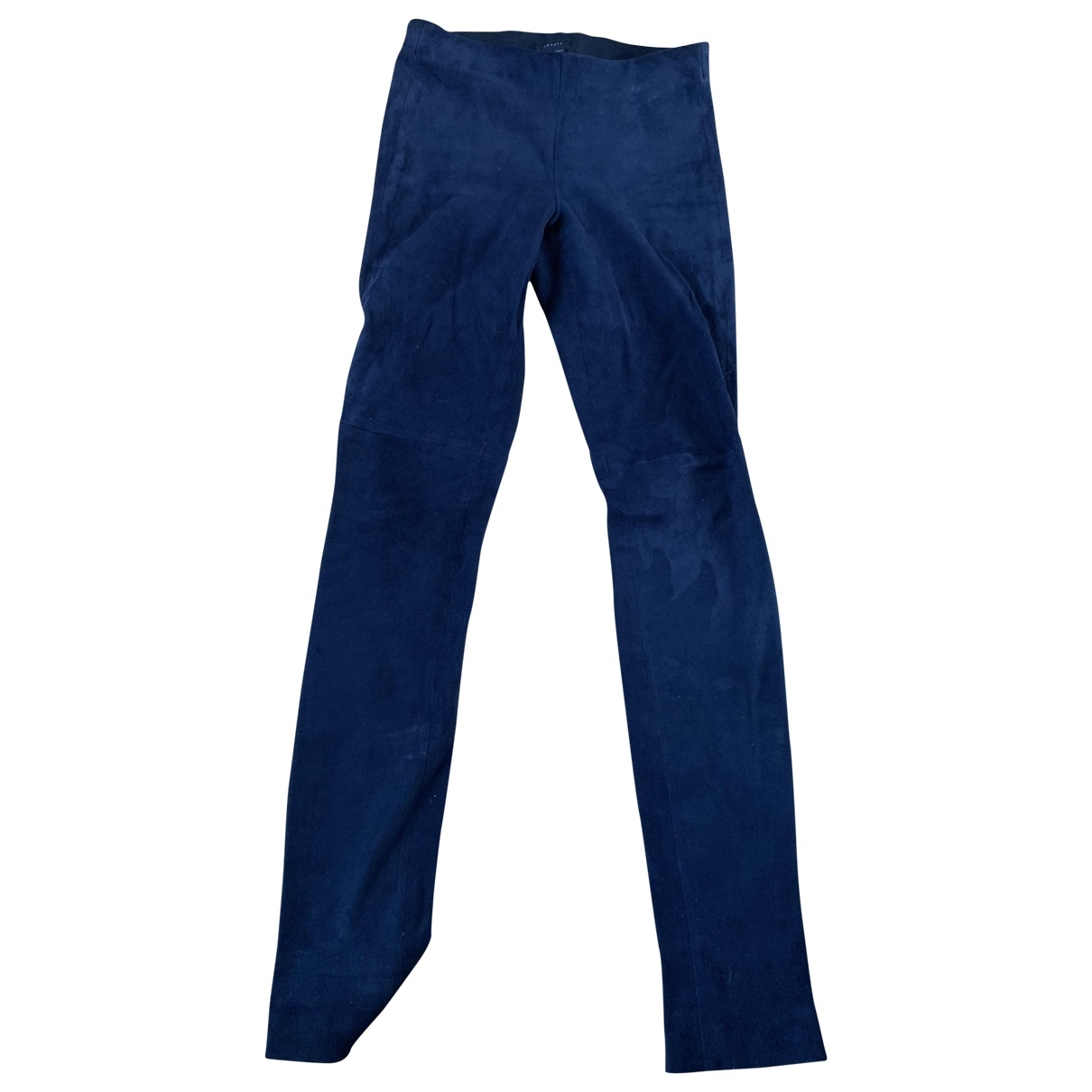 Theory \N Blue Leather Trousers for Women 34 FR