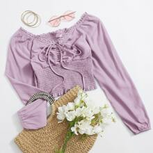 Solid Ruched Shirred Crop Top