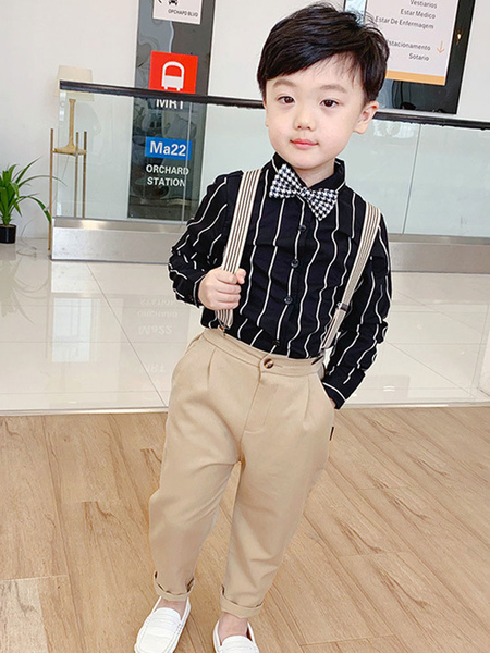Milanoo Ring Bearer Suits Polyester Cotton Long Sleeves Shirt Black Formal Party Suits