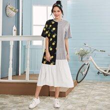 Kleid mit Ananas Muster und Schosschen Saum