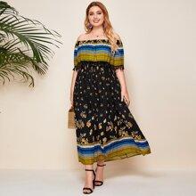 Plus Tassel Detail Tribal Print Ruffle Bardot Dress