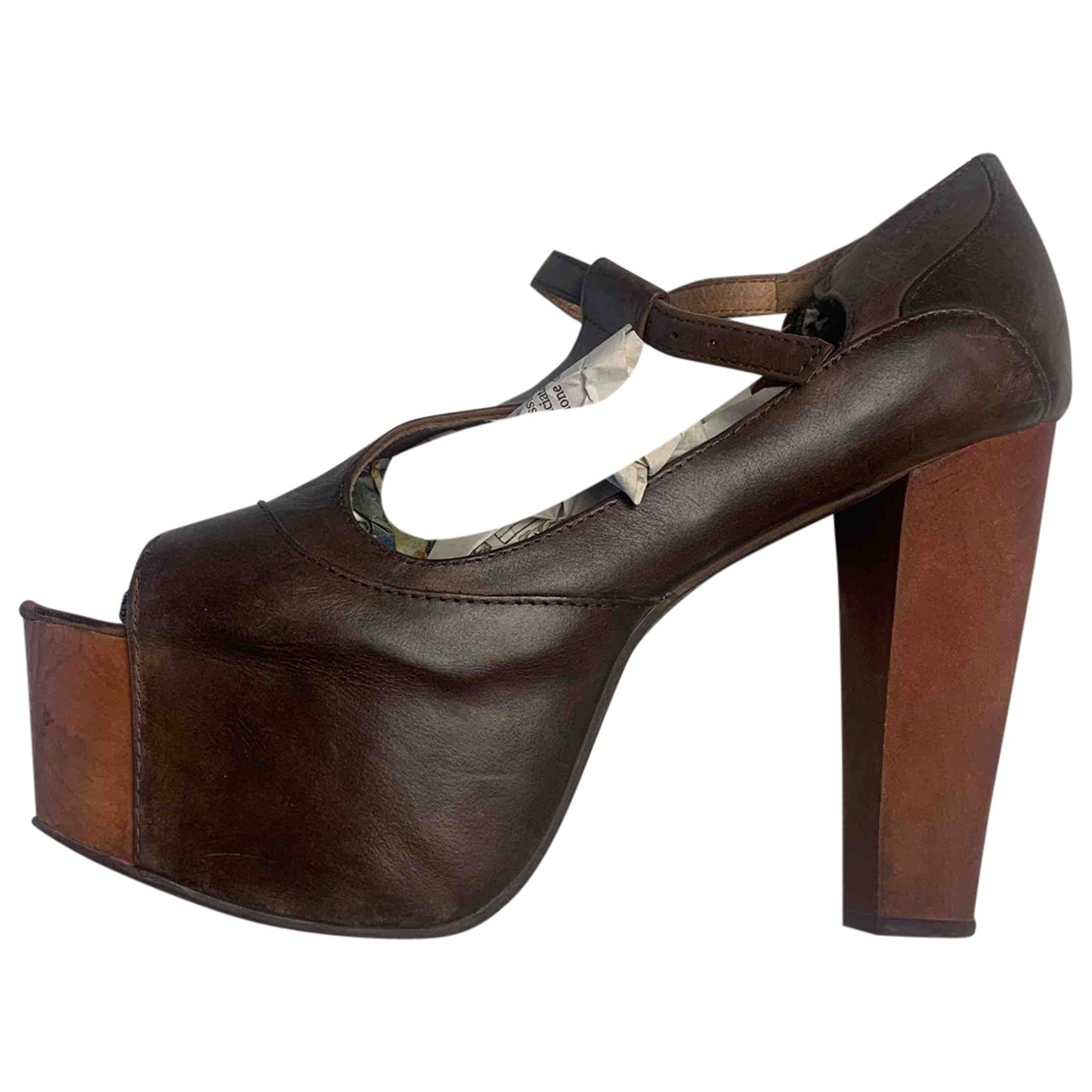 Jeffrey Campbell \N Brown Leather Heels for Women 38 IT