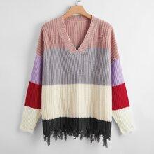 Pullover mit Riss und Farbblock