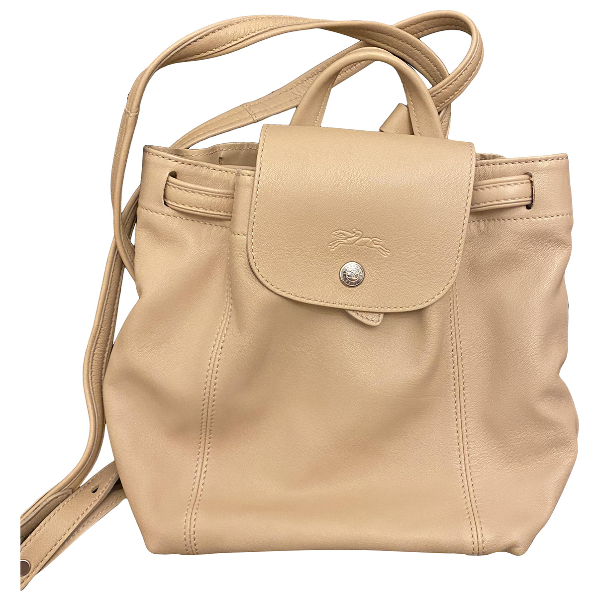 Longchamp Pliage  Beige Leather backpack for Women \N