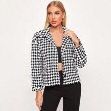 Jacke mit eingekerbtem Kragen, Knopfen vorn und Hahnentritt Muster