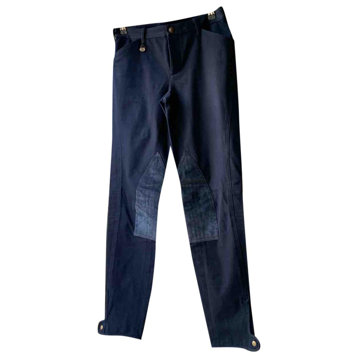 Ralph Lauren N Blue Cotton Trousers for Women 40 IT