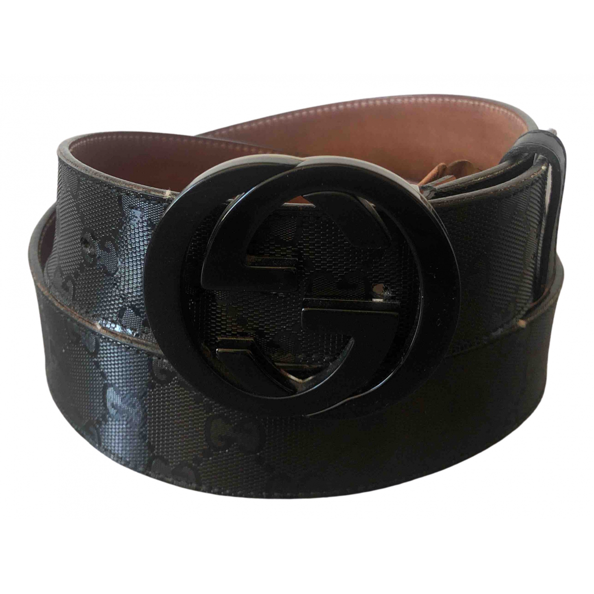 Gucci Interlocking Buckle Guertel in  Schwarz Leder