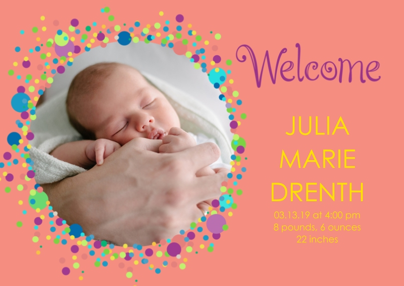 Newborn 5x7 Cards, Standard Cardstock 85lb, Card & Stationery -Bubbly Baby Announcement Girl by Well Wishes