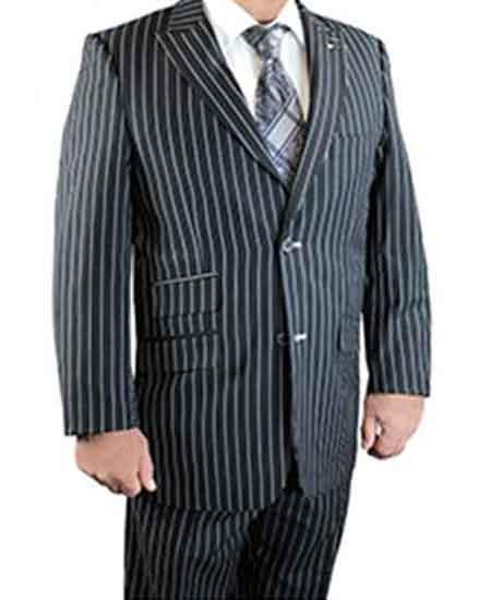 Men's 2 Button Black Peak Lapel Gangster Stripe Revo Vested Suit