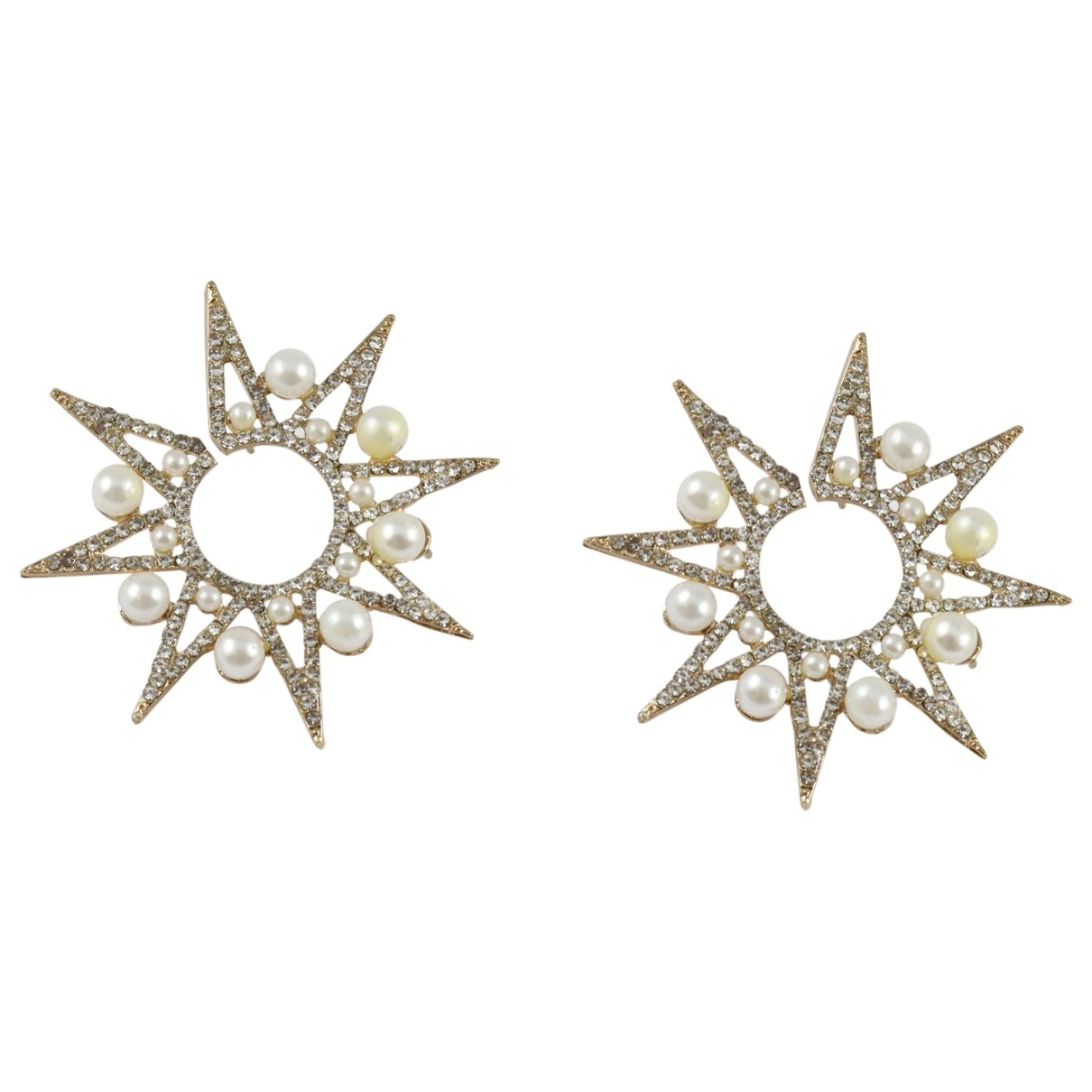 Non Signe / Unsigned Motifs Etoiles OhrRing in  Gold Metall