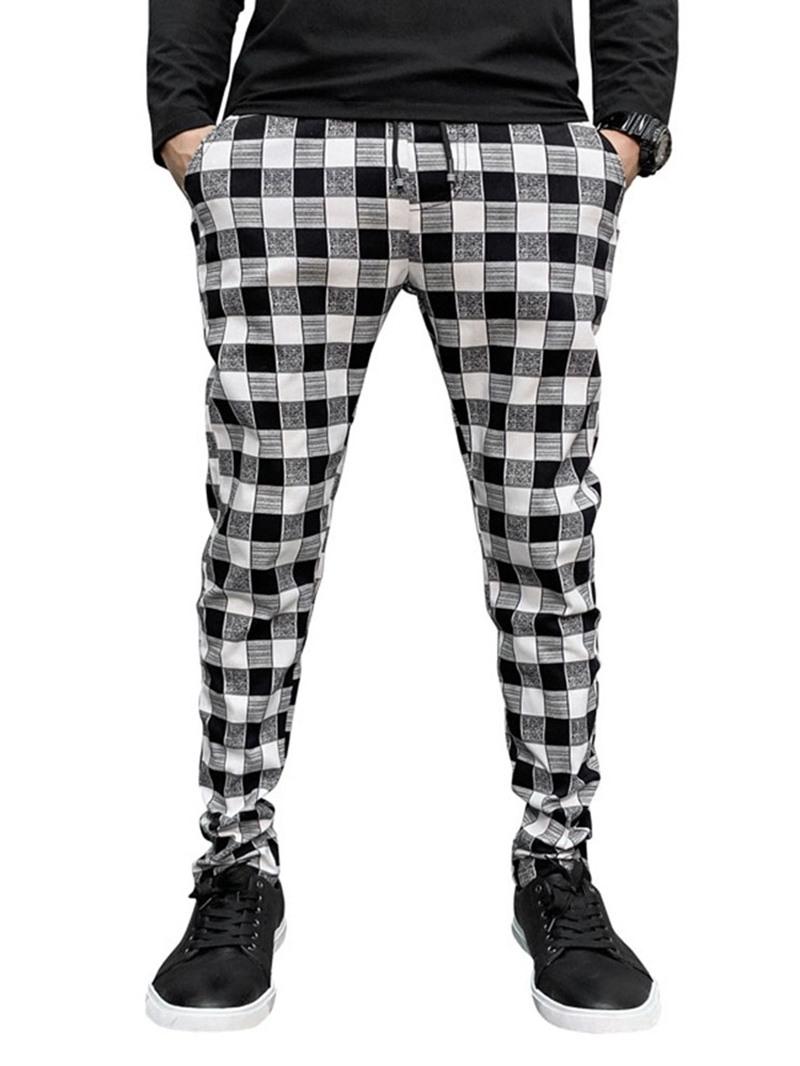 Ericdress Plaid Print Pencil Pants Casual Casual Men's Pants