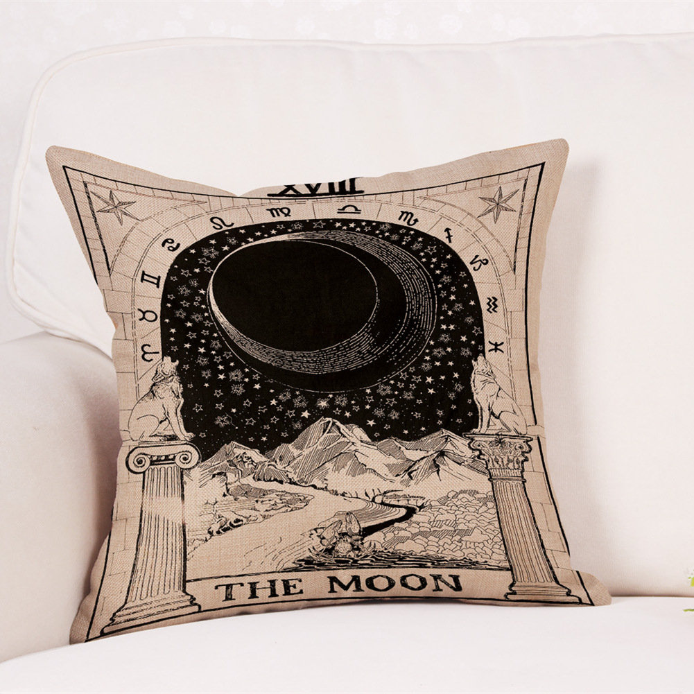 Mysterious Tarot Sun Moon Star Pattern Linen Cushion Cover Home Sofa Office Seat Back Pillowcases