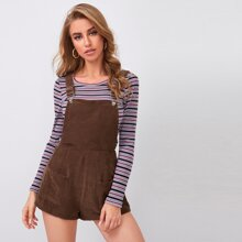 Adjustable Strap Pocket Front Cord Overall Shorts