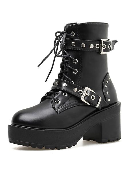 Milanoo Steampunk Lolita Boots Black Round Toe PU Leather Lolita Footwear