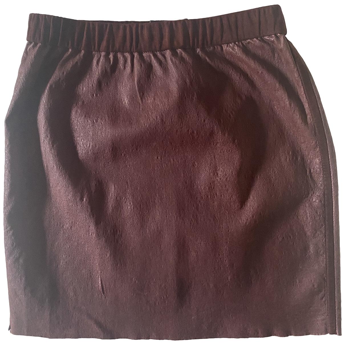 Enes - Jupe   pour femme en cuir - bordeaux