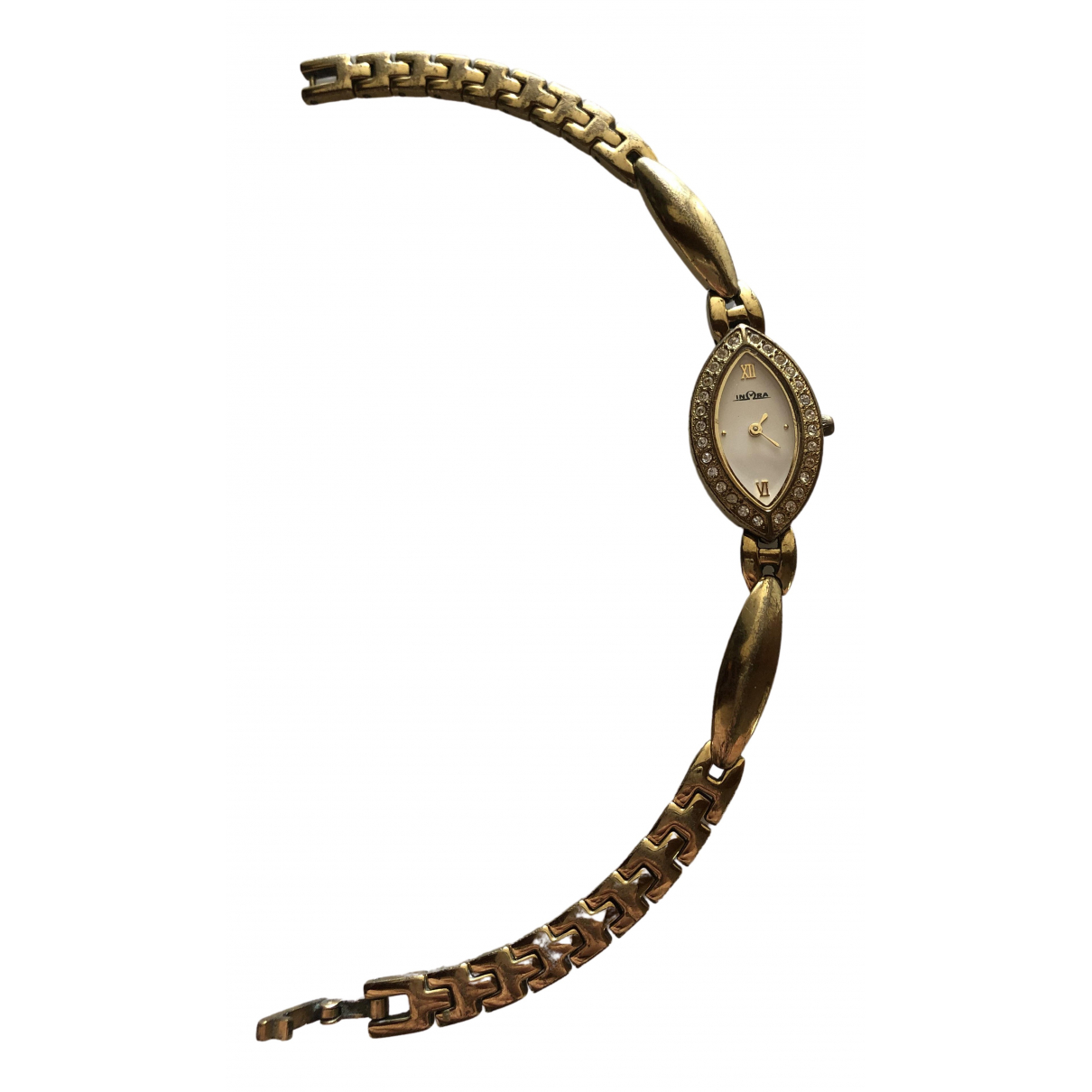 Non Signé / Unsigned N Gold Steel watch for Women N