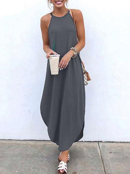 Milanoo Vestido largo hasta el suelo sin mangas con cuello de tirantes azul marino oscuro para mujer