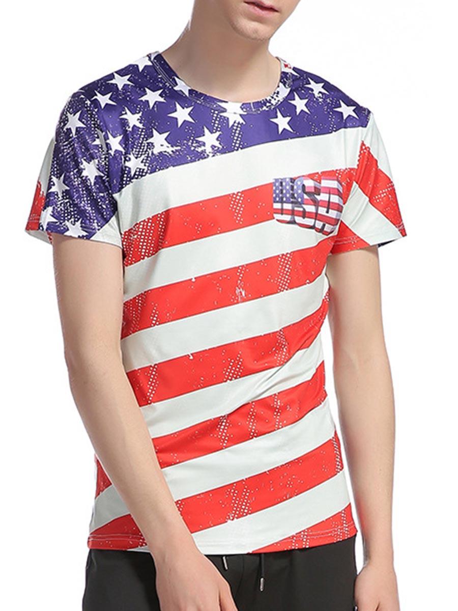 American Flag Print Round Neck Men Short Sleeve 3D Tee T-Shirt