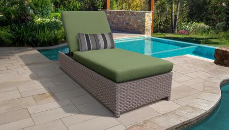 Florence Collection FLORENCE-W-1x-CILANTRO Wicker Patio Chaise with Wheels - Grey and Cilantro