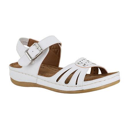 Easy Street Womens Rosalyn Strap Sandals, 7 Wide, White