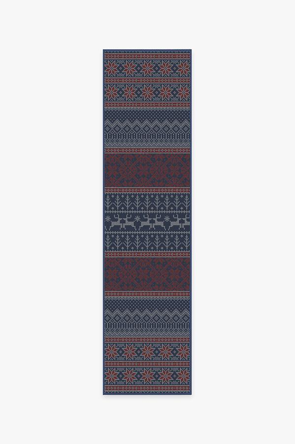 Washable Rug Cover & Pad | Fair Isle Red Rug | Stain-Resistant | Ruggable | 2.5'x10'