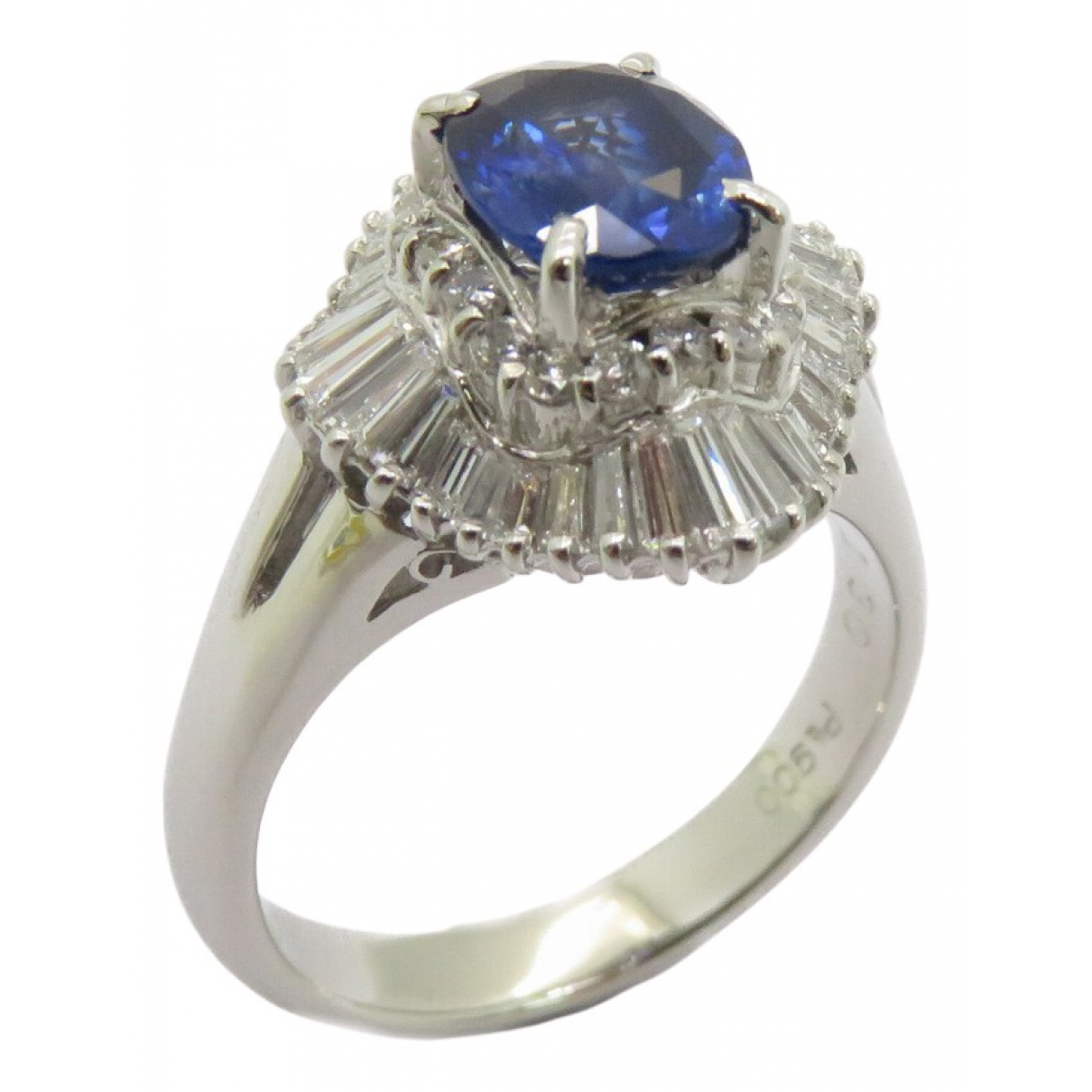 Non Signe / Unsigned Saphir Ring in  Silber Platin