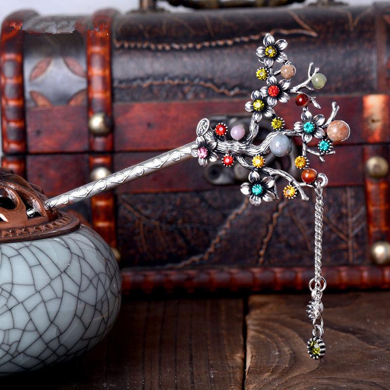 Ethnic Unique Women Hair Accessories Vintage Flower Tree Rhinestones Tassel Drop Hairpin