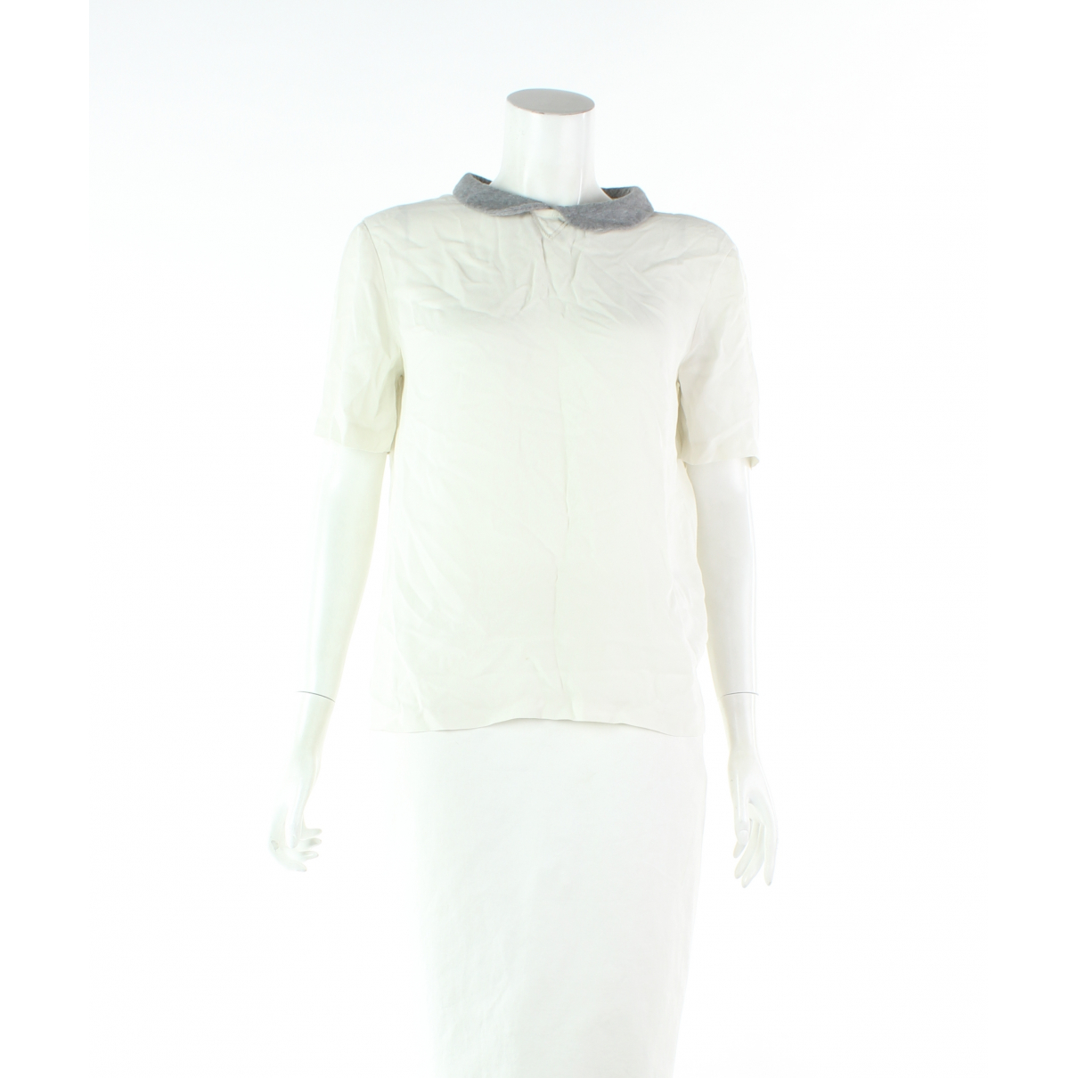 Brunello Cucinelli - Top   pour femme en soie - ecru
