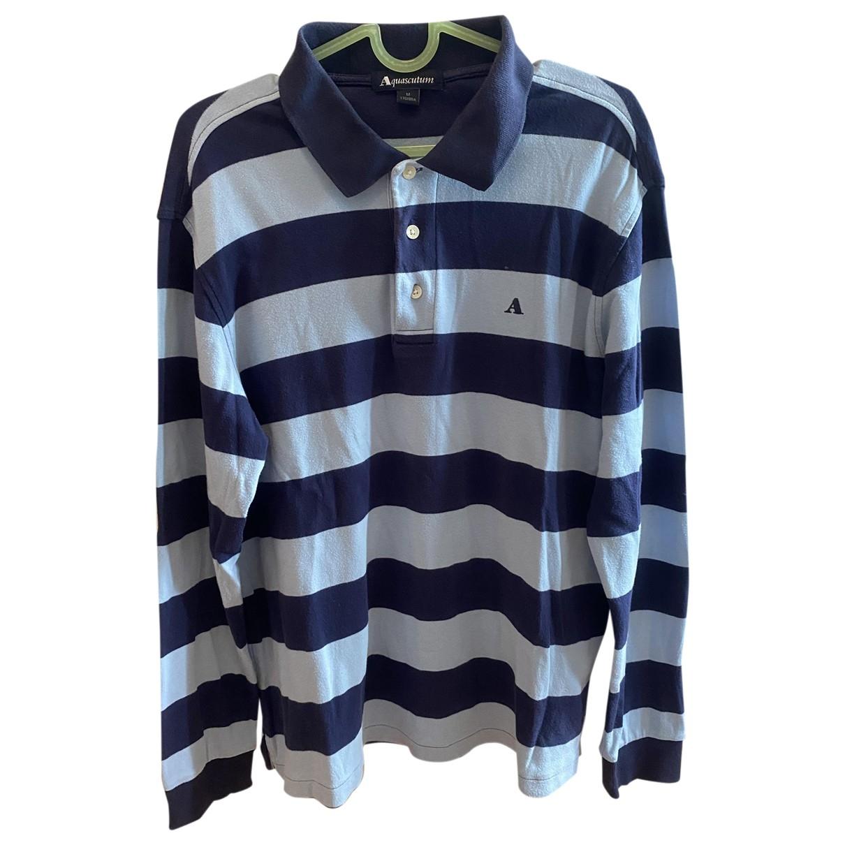 Aquascutum - Polos   pour homme en coton - bleu