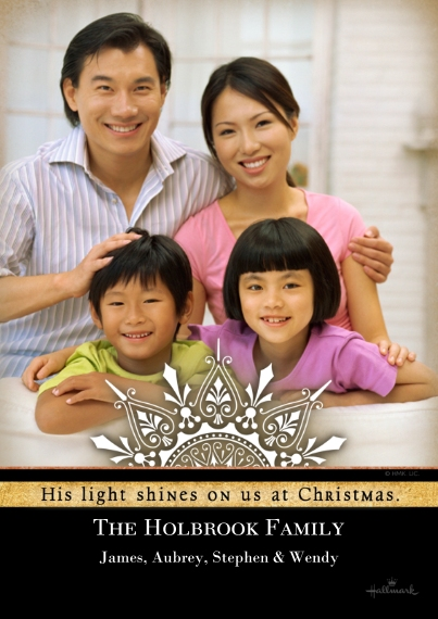 Religious Christmas Cards 5x7 Cards, Premium Cardstock 120lb with Rounded Corners, Card & Stationery -His Light Shines on Us