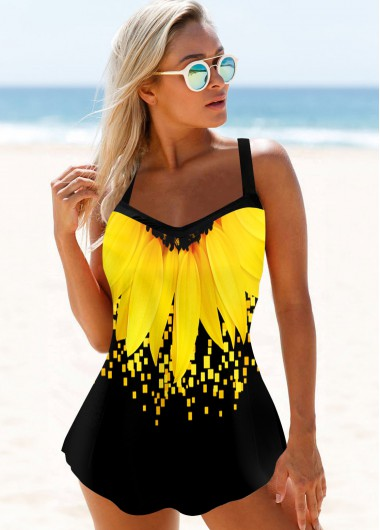 Sunflower Print Spaghetti Strap Yellow Swimdress and Panty - XL