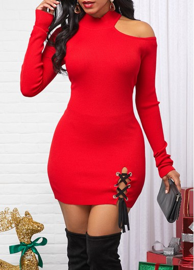 Women'S Red Cold Shoulder Long Sleeve Sheath Cocktail Party Sweater Dress  Solid Color Lace Up Mini Holiday Dress By Rosewe - 10
