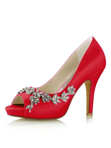 Milanoo Zapatos de novia de seda sintetica 10cm Zapatos de Fiesta Zapatos Azul francia de tacon de stiletto Zapatos de boda de punter Peep Toe con ped
