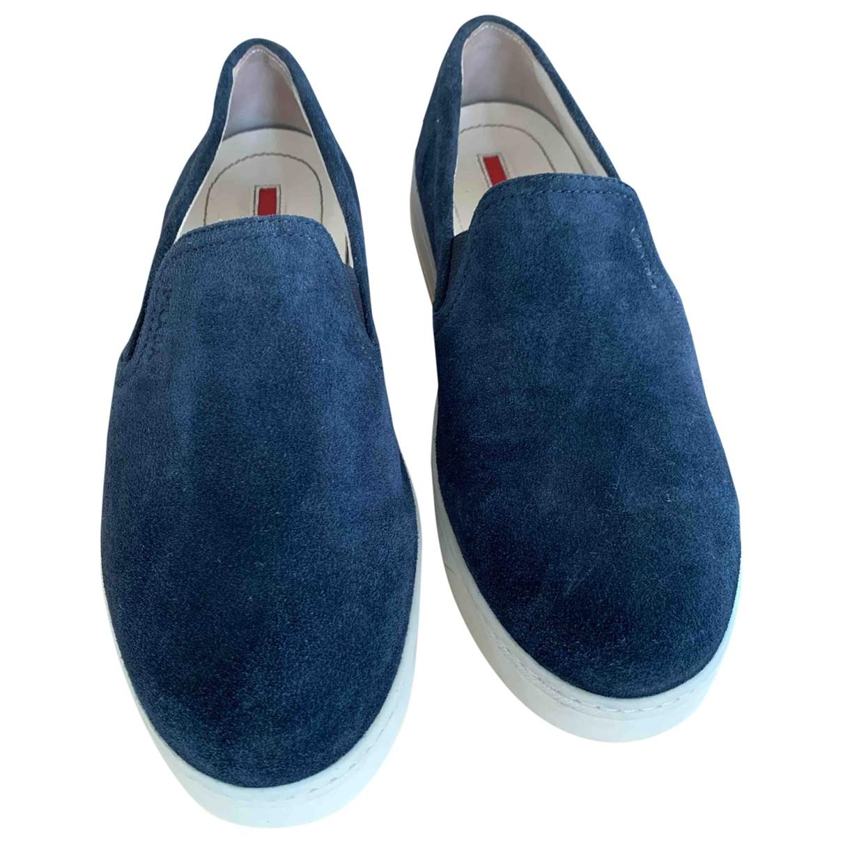 Prada - Baskets   pour femme en suede - bleu