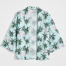 Men Allover Palm Tree & Flamingo Print Kimono