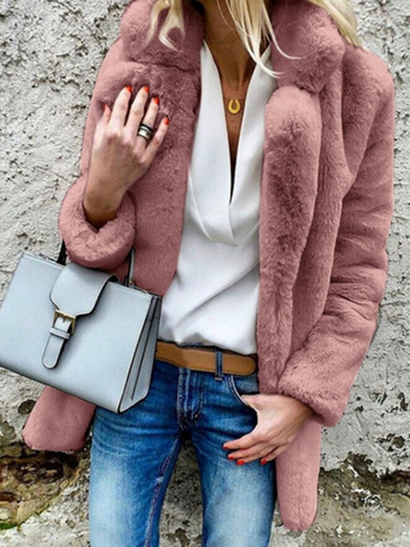 Ericdress Faux Fur Mid-Length Plain Straight Overcoat