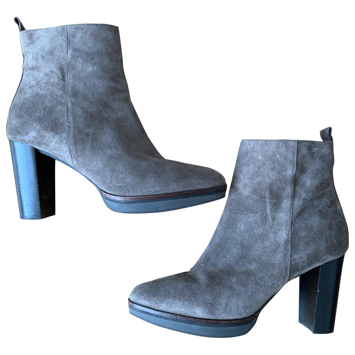 Non Signé / Unsigned \N Grey Suede Ankle boots for Women 41 EU