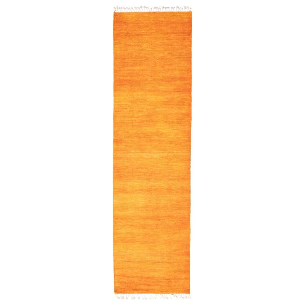 ECARPETGALLERY  Hand-knotted Pak Finest Gabbeh Orange Wool Rug - 2'9 x 10'0 (Orange - 2'9 x 10'0)