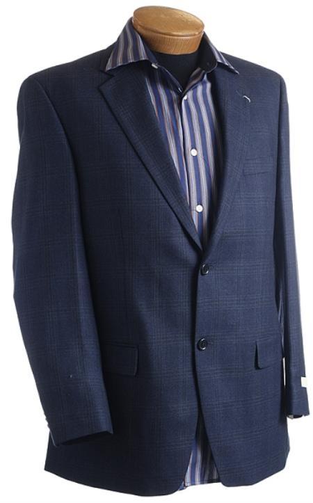Mens Navy Designer Classic Window Pane Sports Jacket