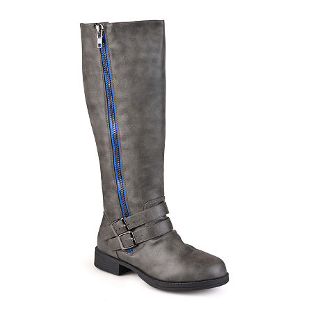Journee Collection Womens Lady Wide Calf Side-Zip Riding Boots, 7 1/2 Medium, Gray