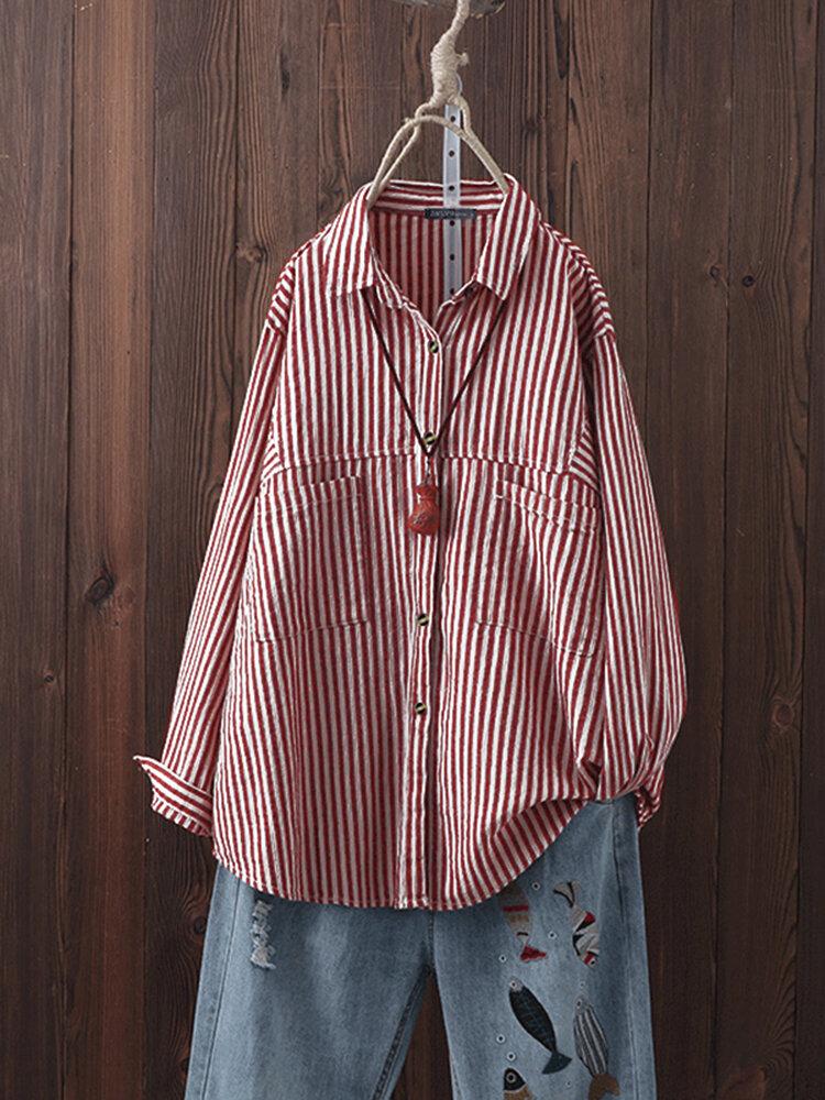 Striped Turn-down Collar Long Sleeve Plus Size Shirt