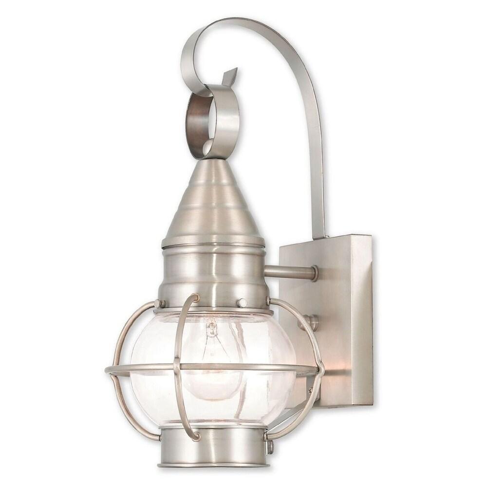Livex Lighting Newburyport Brushed Nickel Brass Single-light Outdoor Wall Lantern (Brushed Nickel)