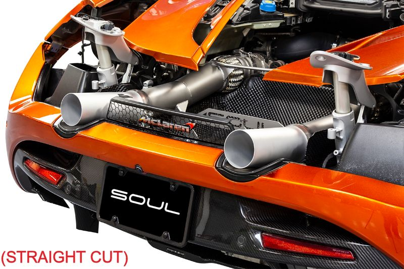 Soul Performance 3.5 Inch Competition Exhaust Package Straight Cut Silver Ceramic Tips Non-OEM McLaren 720S 17-20