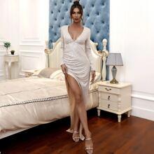 Plunge Neck Asymmetrical Hem Sequin Prom Dress