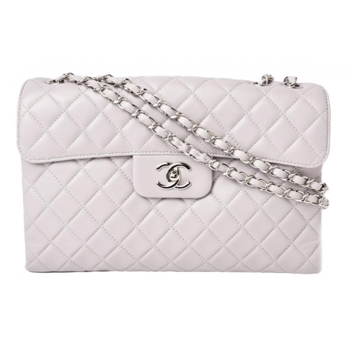 Chanel - Sac a main Timeless/Classique pour femme en cuir - gris