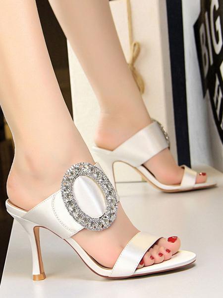 Milanoo Zapatos de noche de saten Red Rhinestones de dedo del pie sandalias sin respaldo sandalias de tacon alto de mujer