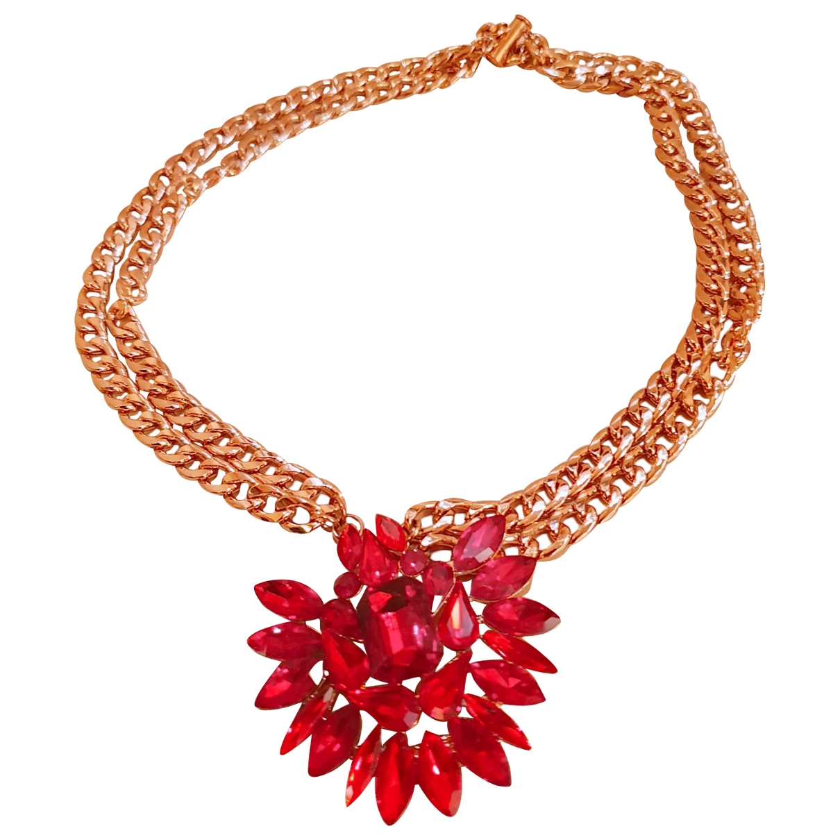 Non Signé / Unsigned \N Red Crystal necklace for Women \N