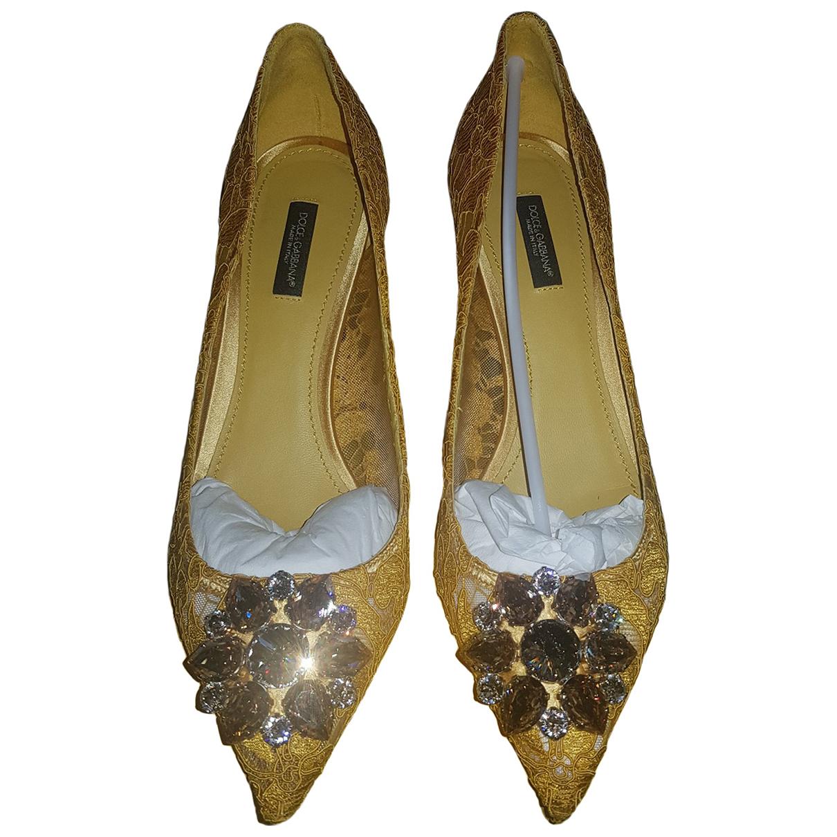 Dolce & Gabbana - Escarpins Taormina pour femme en toile - jaune