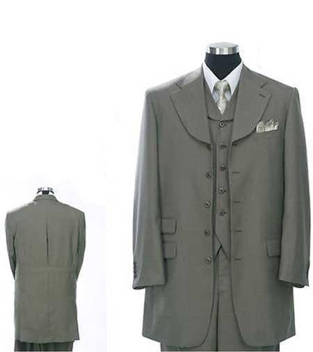 5 Buttons Olive Green Vested Fashion Zoot Suit Wide Leg Pants